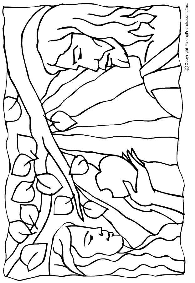 adam and eve sin coloring sheets coloring pages - Adam Eve Bible Coloring Pages