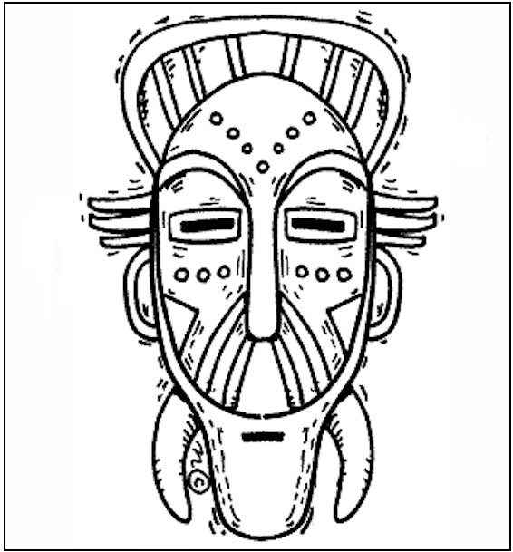 African Mask Coloring Pages Printable