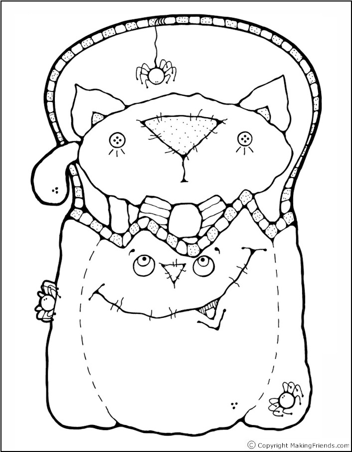 black cat coloring page