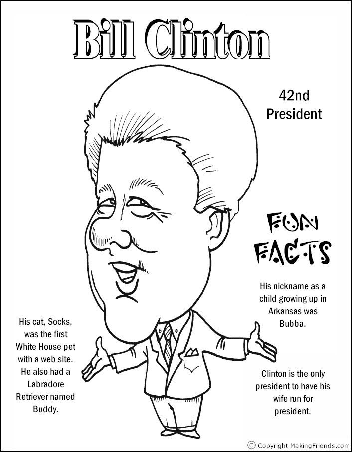 president coloring pages with facts - bill clinton coloring page