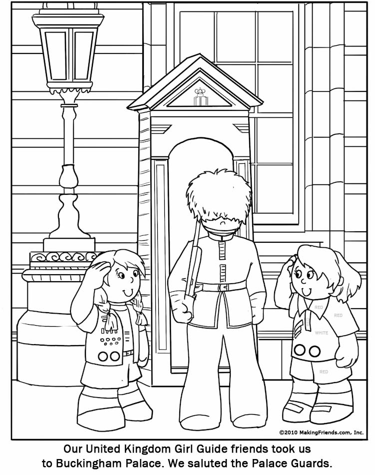 United Kingdom Girl Guide Coloring Page