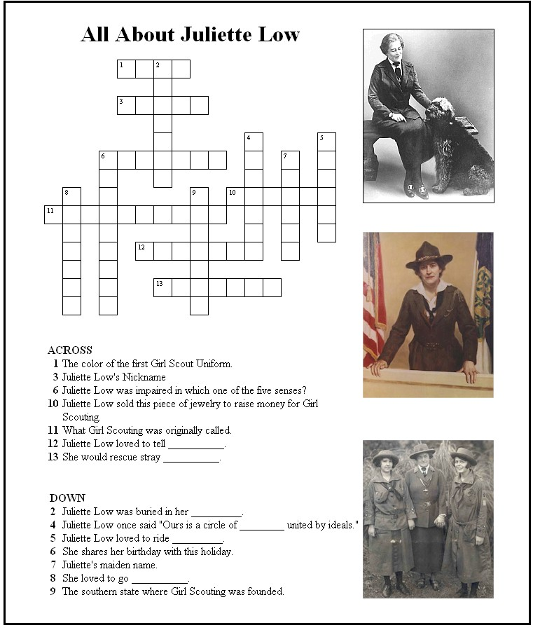 Juliette Low Coloring Pages http://www.makingfriends.com/color/crossword_juliette.htm