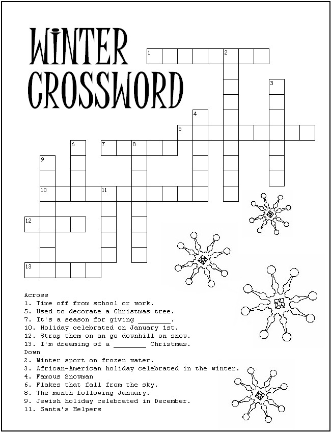 winter crosswords Colouring Pages