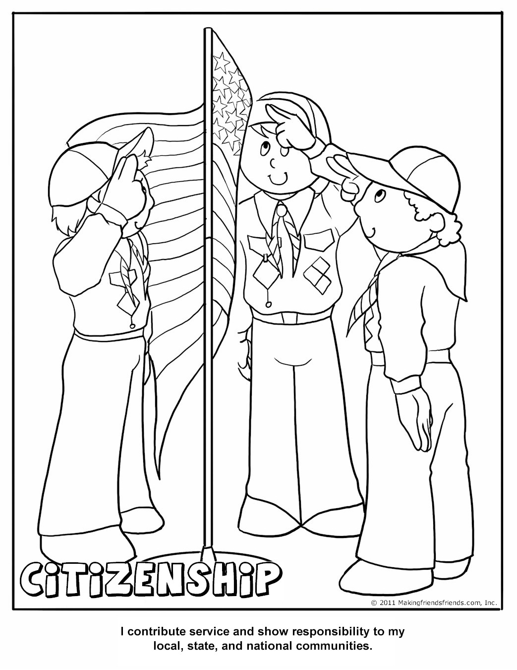 Cub Scout Citizenship Coloring Page