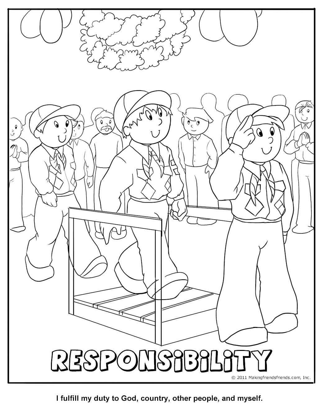 Cub Scout Responsibility Coloring Page Coloring Pages For Scouts