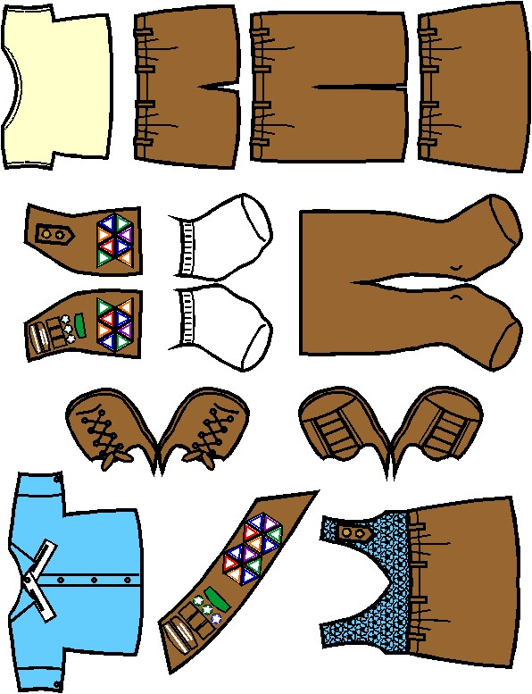 Paper Doll Friends Brown Uniform