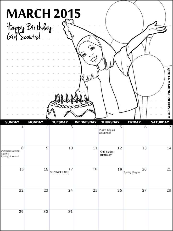 Girl scout coloring pages printable sketch coloring page for Girl scout calendar template