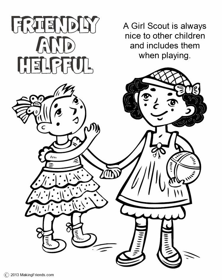 The law friendly and helpful coloring page for Girl scout coloring pages